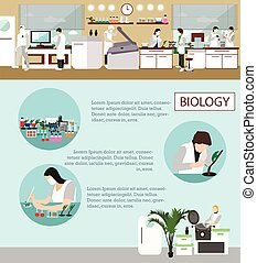 científico, trabajando, en, laboratorio, vector, illustration., laboratorio de la ciencia, interior., biología, educación, concept.