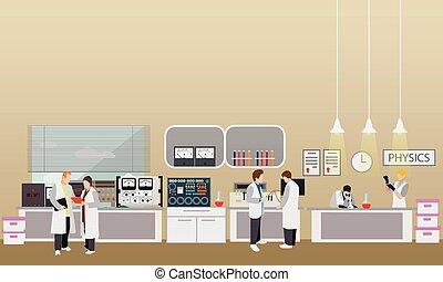 científico, trabajando, en, laboratorio, vector, illustration., laboratorio de la ciencia, interior., física, educación, concept., varón y hembra, ingenieros, elaboración, investigación, experimentos