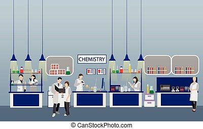 científico, trabajando, en, laboratorio, vector, illustration., laboratorio de la ciencia, interior., química, educación, concept., varón y hembra, ingenieros, elaboración, investigación, experimentos