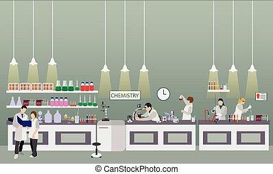 científico, trabajando, en, laboratorio, vector, illustration., laboratorio de la ciencia, interior., química, educación, concept.