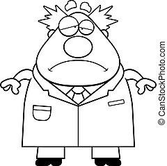 científico, triste, enojado, caricatura