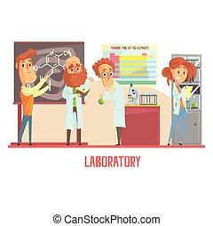 científicos, caracteres, dirigir, investigación, en, un, laboratorio, interior, de, ciencia, laboratorio
