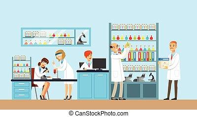 científicos, dirigir, investigación, en, un, laboratorio, interior, de, ciencia, laboratorio, vector, ilustración
