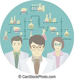científicos, en, el, laboratorio químico