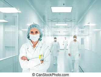 científicos, equipo, en, moderno, hospital, laboratorio,...