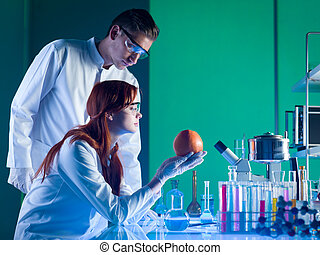 científicos, estudiar, un, toronja