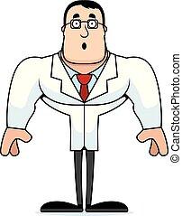 cientista, caricatura, surpreendido