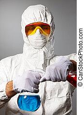 cientista, desgaste protetor
