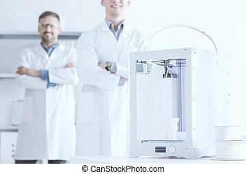 cientista, impressora, 3d, equipe