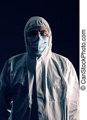 cientista, médico, roupa, desgastar, protetor