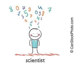 cientista, pensa, aproximadamente, números