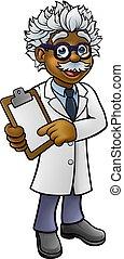 cientista, personagem, área de transferência, segurando, caricatura