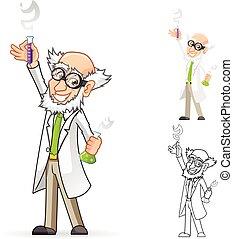 cientista, personagem, caricatura
