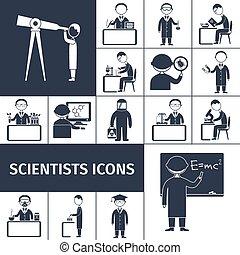 cientista, pretas, ícones