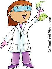 cientista, vetorial, arte, doutor
