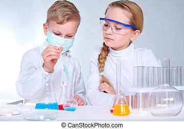 cientistas, crianças