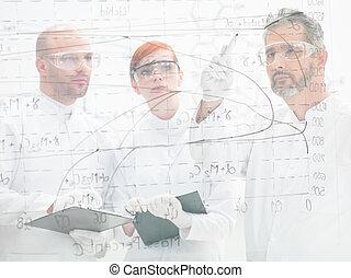 cientistas, discutir, um, diagrama