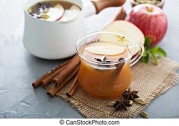 ciepły, jabłecznik, jabłko, przyprawy