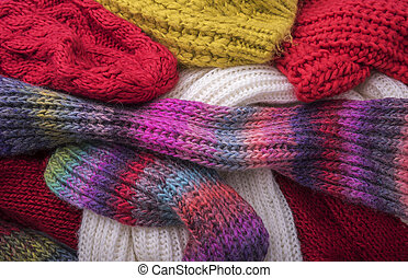 ciepły, zima, clothes., czapki, i, scarves.