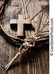 ciernie, dłoń, korona, krzyż, skręcony