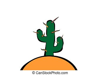 ciernie, na, to, kaktus, zachód słońca, dużo
