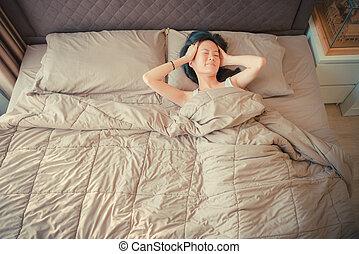 cierpienie, asian, łóżko, kobieta, depresja