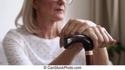 cierpienie, concept., samica, osteoporosis, niezdrowy, choroba, retiree