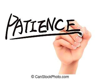 cierpliwość, napise słowo, ręka