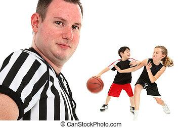 cierre, árbitro, arriba, baloncesto, niños