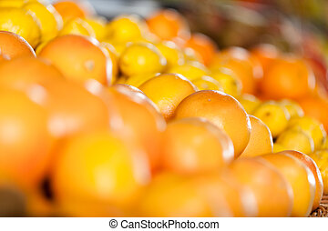 cierre, amontonar, naranjas
