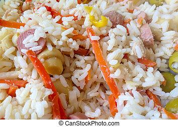 cierre, arroz, Arriba, ensalada, italiano