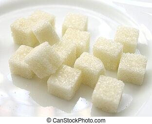 cierre, blanco, cubos, Arriba, azúcar
