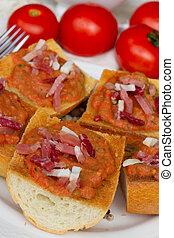 cierre,  bread, Arriba,  jamon, tomates