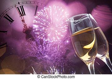 cierre, champaña, medianoche, anteojos, reloj