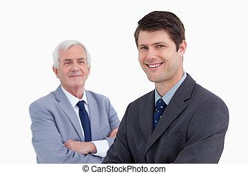 cierre, el suyo, arriba, hombre de negocios, sonriente, ...