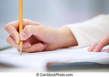 cierre, escritura, arriba, mano femenina
