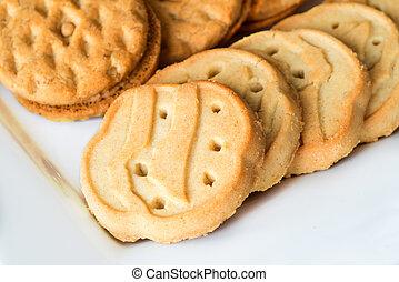 cierre, galletas, explorador, arriba, niña