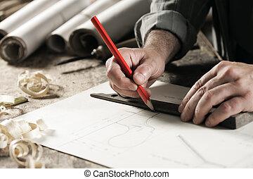 cierre, hand's, arriba, carpintero
