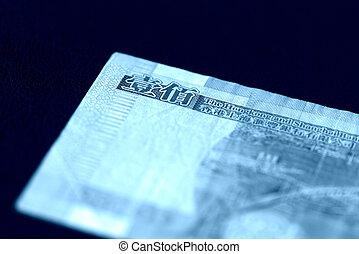 cierre, kong, arriba., hong, dólares, cien, fondo oscuro, color, toned, azul, cuenta