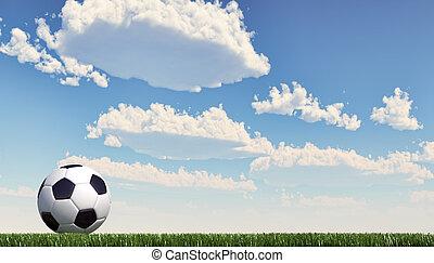 cierre, lawn., pelota, arriba, format., fútbol / fútbol ...
