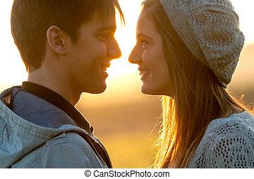 cierre, pareja, amor, arriba, sunset.