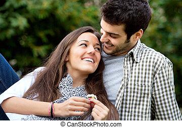cierre, pareja, park., romántico, arriba