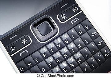 cierre, teléfono, arriba, elegante, teclado