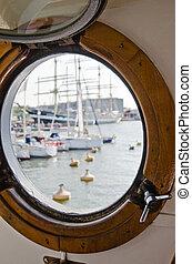 cierre, ventana, barco, arriba