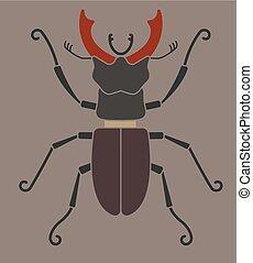 ciervo, silueta, escarabajo