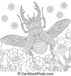 ciervo, zentangle, (lucanus, cervus), escarabajo
