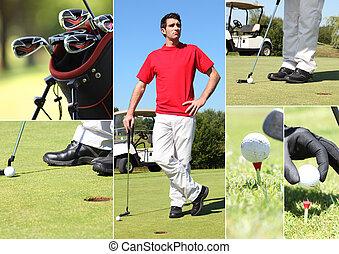 cieszący się, golf, okrągły, człowiek
