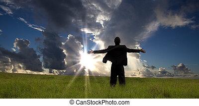 cieszyć się, człowiek, wschód słońca, handlowy, rozluźnić