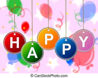 cieszyć się, dodatni, widać, balony, szczęście, szczęśliwy