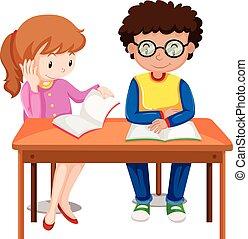 cieszyć się, dzieciaki, książki, dwa, czytanie